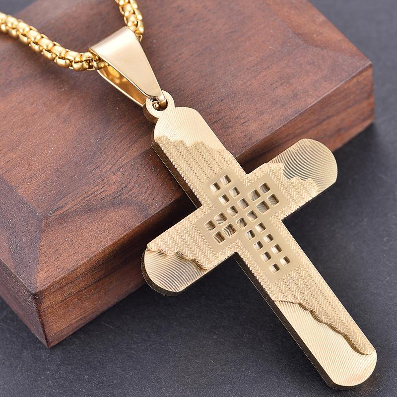 2020 z127 new personalized exquisite hollow cross pendant stainless steel commemorative necklace with matching chain for gift