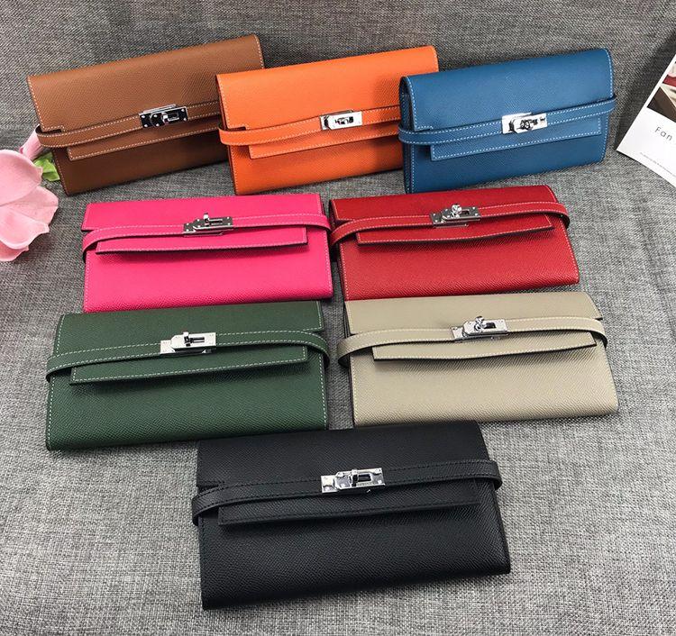 محفظة فاخرة مع قفل 8 اللون عالية الجودة مصمم محفظة الأزياء الفاصل المحفظة الفاخرة المحفظة طويلة مع صندوق