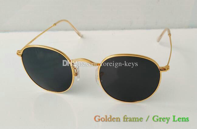 epacket Qualitäts-Mann-Frauen-Art- und Sonnenbrillen rundes Metall Klassische Sonnenbrille Glaslinsen Gläser 1pcs / lot schwarze Farbe Fall.
