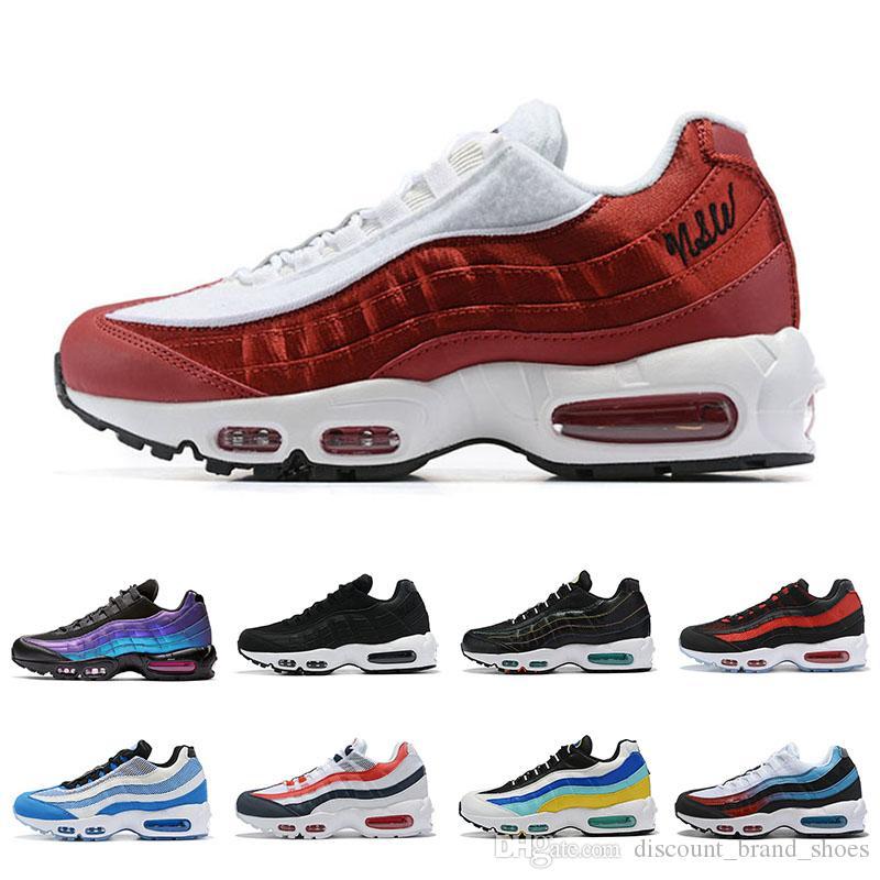 Nike air max 95 shoes chaussures og mens das mulheres respirável shoes colorido preto vermelho branco sports trainer superfície de esportes ao ar livre sapatilhas 36-45