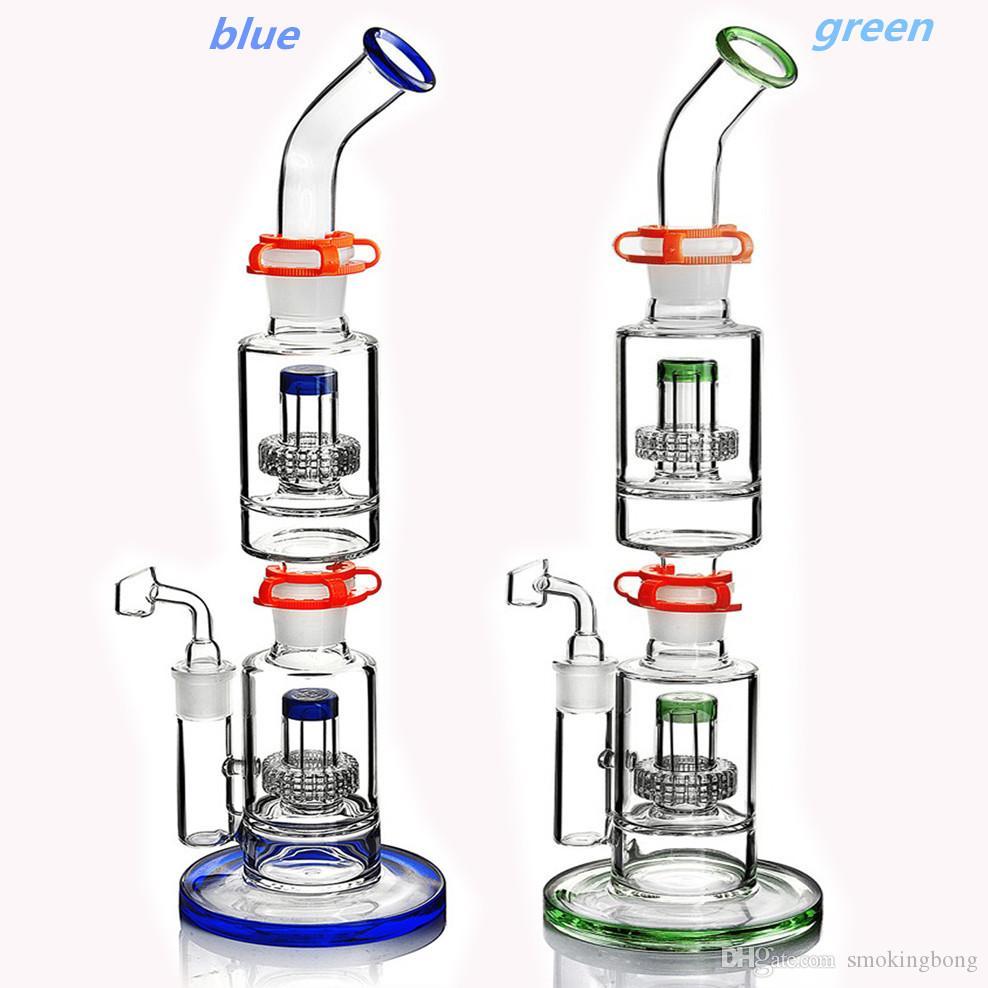Riciclaggio di impianti di petrolio di riciclatore Bong spessore di vetro di vetro di vetro inebriante DAB Rigs Beaker Bong stereo matrice rimovibile 18mm clip da 18 mm da 17,7 pollici