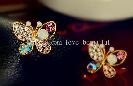 Горячий стиль корейский версия ювелирные изделия жемчужина бабочка выдолбленные цвет Алмаз серьги мода классический изысканный элегантность