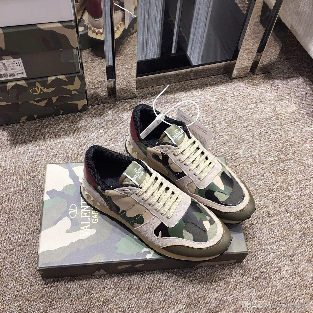 2020 Hot Sale Fashion Studded Camouflage Sneakers Men's Women's Flats Luxury Designer Rockrunner Sneakers with BoxAA