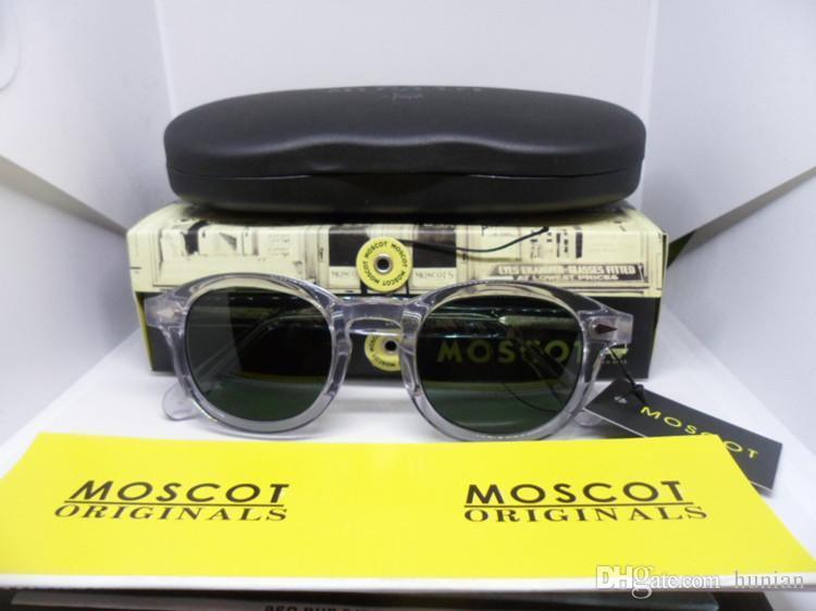 Şeffaf moscot polarize güneş gözlüğü Marka Retro-vintage kalite Saf-Tahta tam jant accustomized güneş gözlüğü orijinal ambalaj L M S boyutu