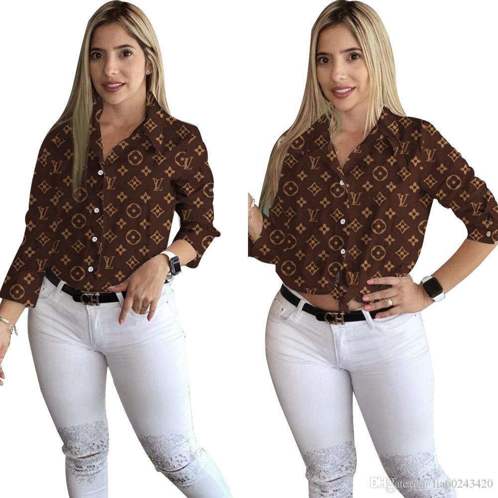 وصول حر سفينة جديدة على الموضة للنساء طباعة بدوره إلى أسفل طوق القميص أنثى عرضي كم طويل نحيف شيرت القمم XXL