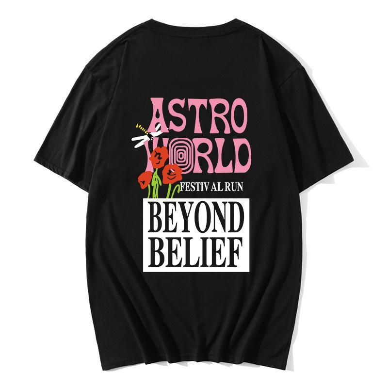 Songsanding algodão 100% TRAVIS SCOTT AstroWorld CONCERT MERCH Verão de 2018 novos produtos Rua dos homens e algodão t-shirt das mulheres do hip hop