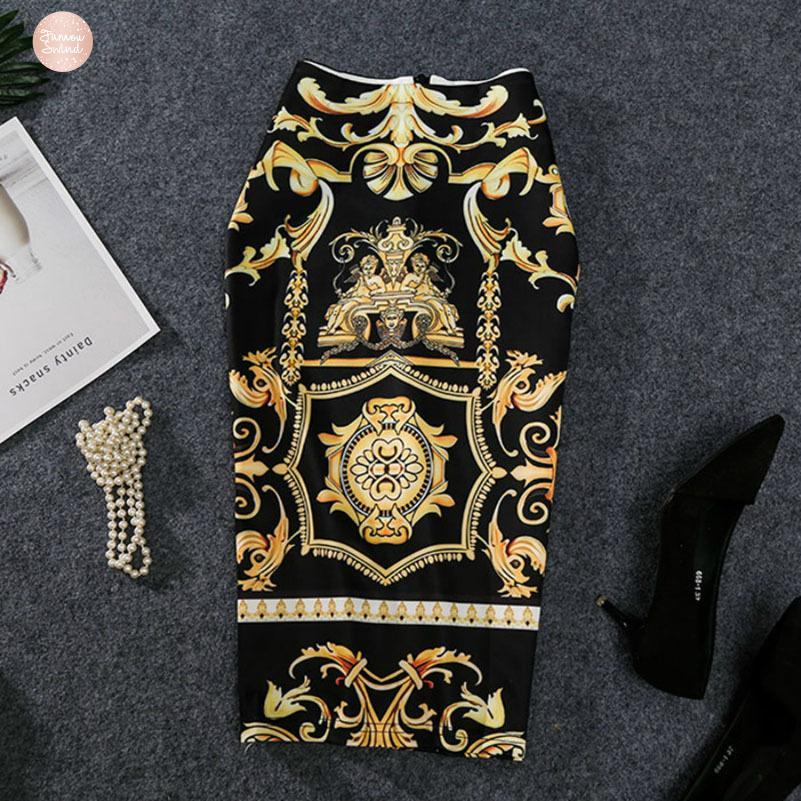 치마 새로운 펜슬 스커트 높은 스트레치 추상 패턴 슬립 미디 엉덩이 여성을 인쇄 2019 유럽 여성 여름을 오는