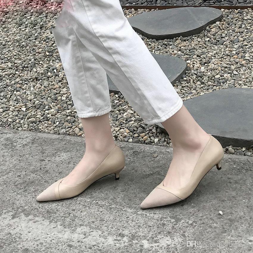 2019 Femmes Escarpins Cuir De Vachette + Enfant En Daim Bout Pointu Talon Bas Glissement De Base Sur Confortable Casual Chaussures Concise