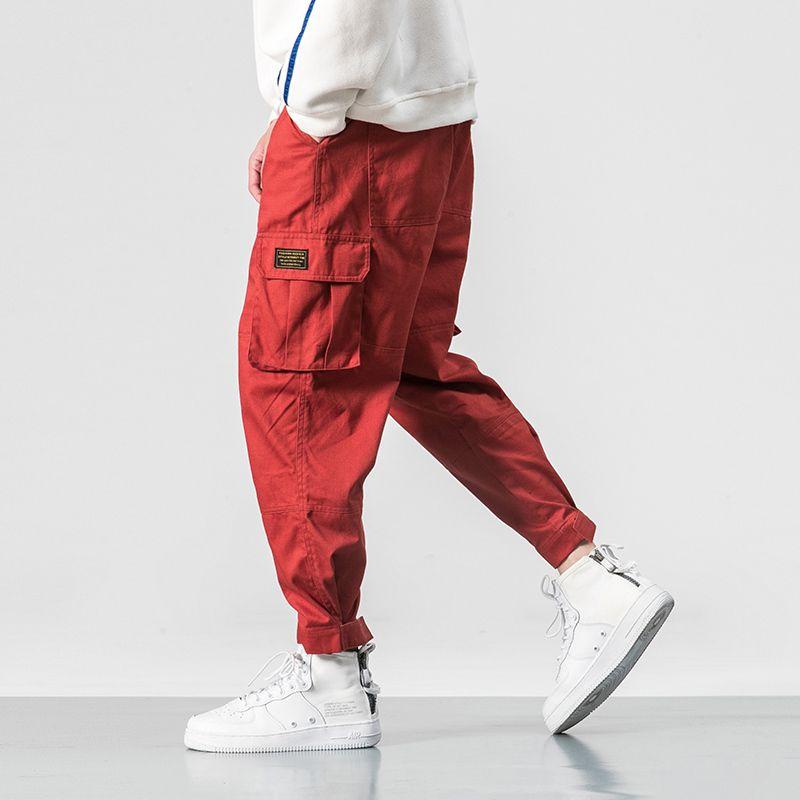 Popular Hip Hop Solto Carga Calças Masculinas 2019 Nova Elástico Na Cintura Homens Moda Casual Bolso Calças Táticas Dos Homens Militares Y190509