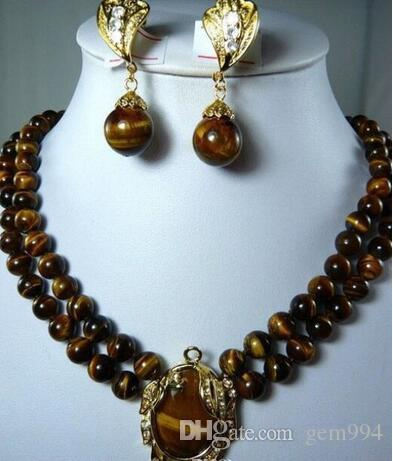 Luxurious 2 Row 8mm Natural Tiger Eye Stone Necklace17-18'' Pendant Clip Earrings Set