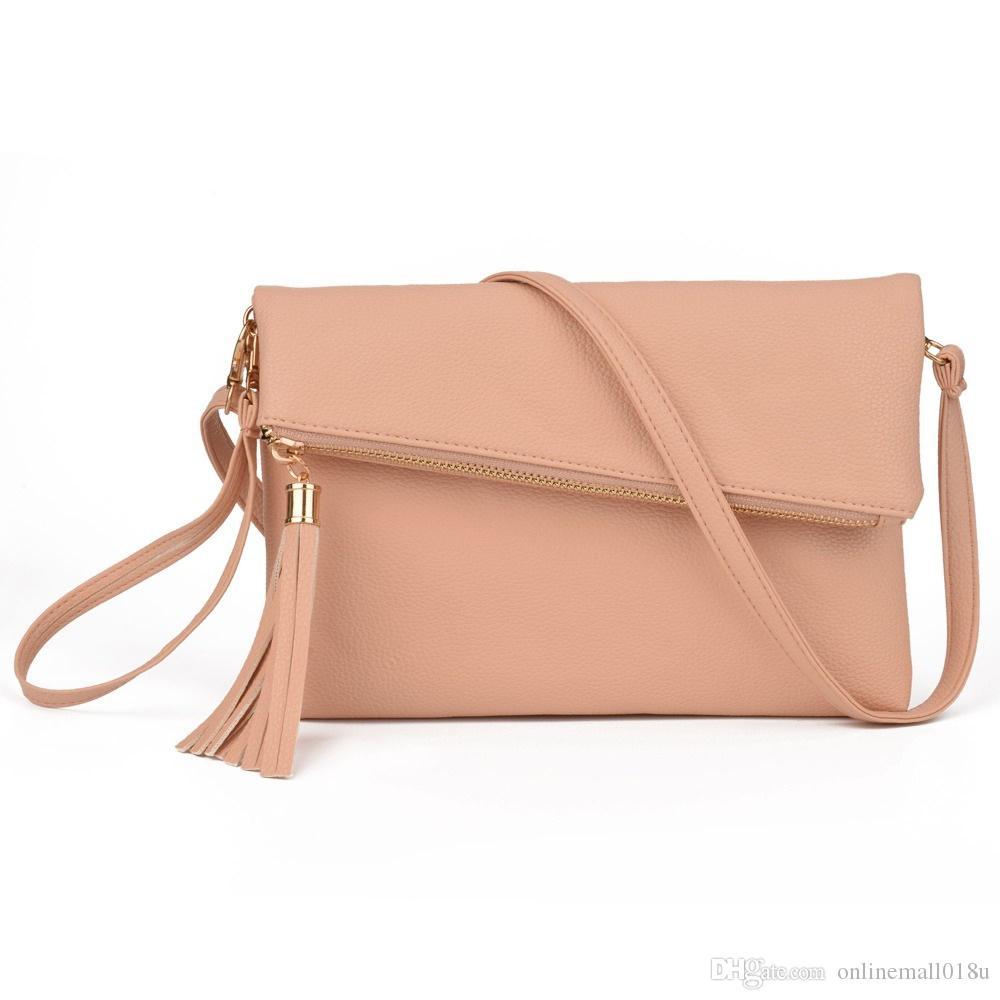 Ladies Tassel Design Women PU Leather Crossbody Messenger bag Small Sling Shoulder Bags Fold Closure Handbag Purses
