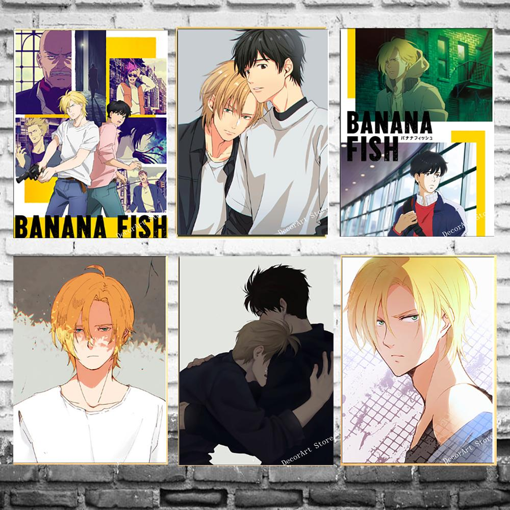 Japan Anime Banana Fish Game Cartoon Canvas Painting Vintage Wall Picture Kraft Poster Coated Wall Stickers Home Decoration Gift