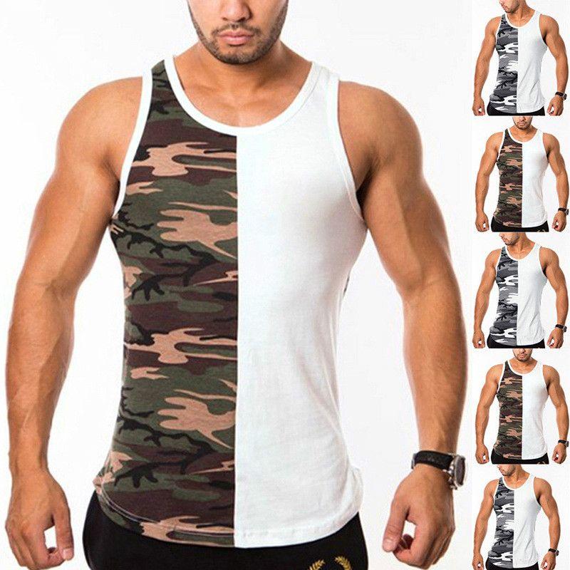 2020 мужской дизайнер жилет высокого качества лета новые мужские футболки 100% хлопок с капюшоном без рукавов половина камуфляж жилет Европы и Америки M-3XL