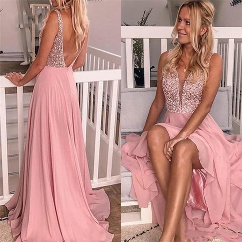 Романтический розовый V шеи платья выпускного вечера шариков шифоновое Линия Backless Вечерние платья Red Carpet партии платья на заказ
