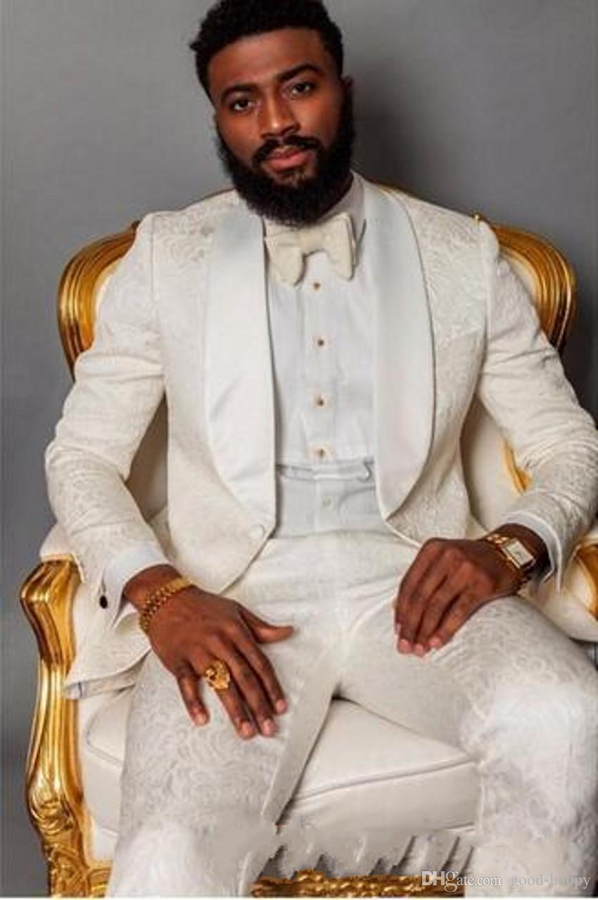 A estrenar Marfil Relieve Hombres Boda Esmoquin Mantón Solapa Novios Tuxedos Excelente Hombre Blazer Suit Prom / Dinner Jacket (Jacket + Pants + Tie) 1669