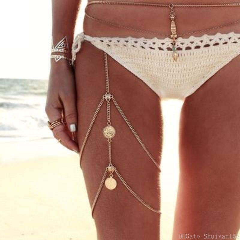 Bacak Zincirler Boho Halhal Vücut Takı Katmanlı Püskül Elastik Band Alaşım Coin Bacak Zinciri Kadınlar Seksi Yaz Plaj Takı DHL