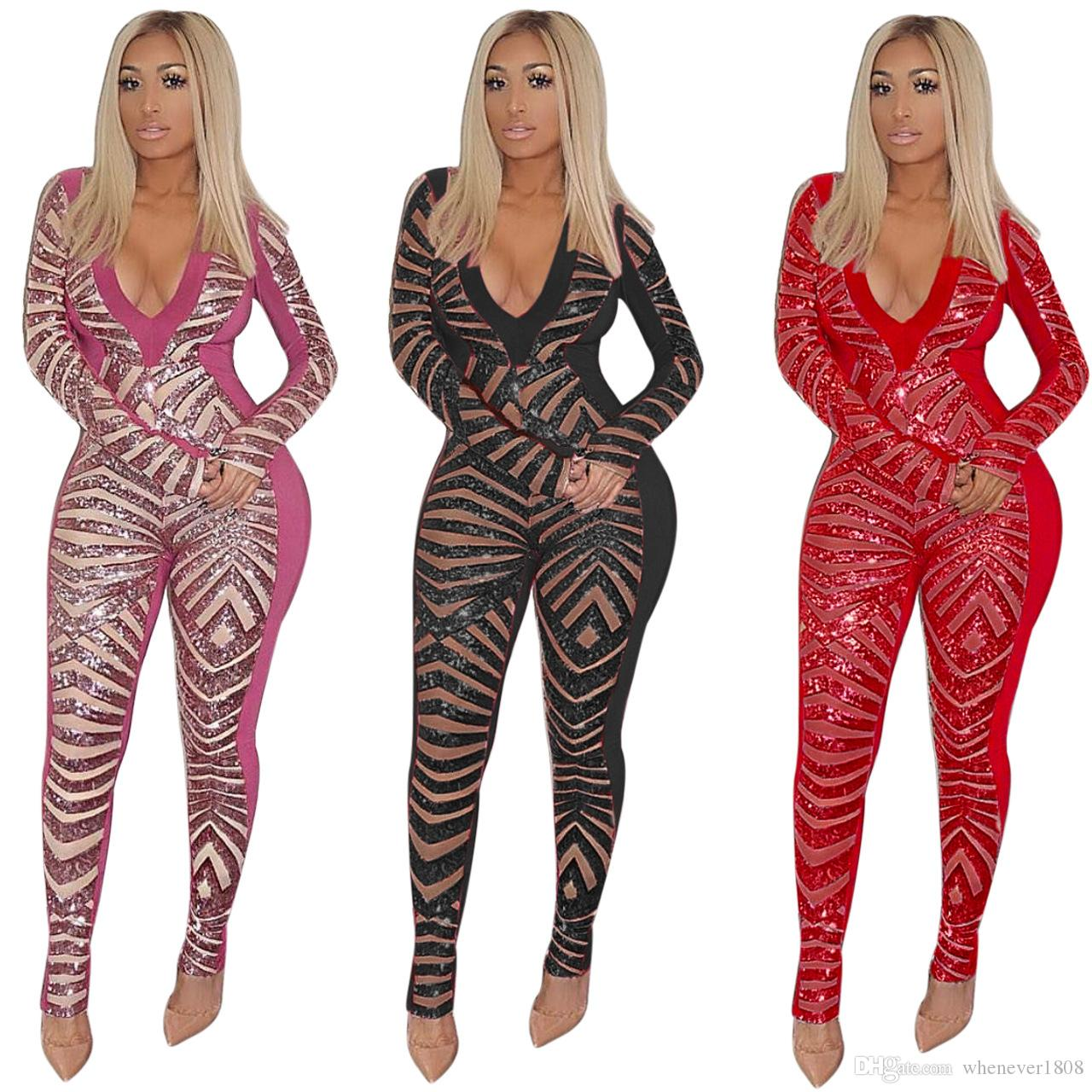 New Arrival Sexy Spring And Summer Long Sleeve Women's Jumpsuits & Rompers Women's Bodysuit Beaded V Veck Unlined Women Club Wear Dress P14