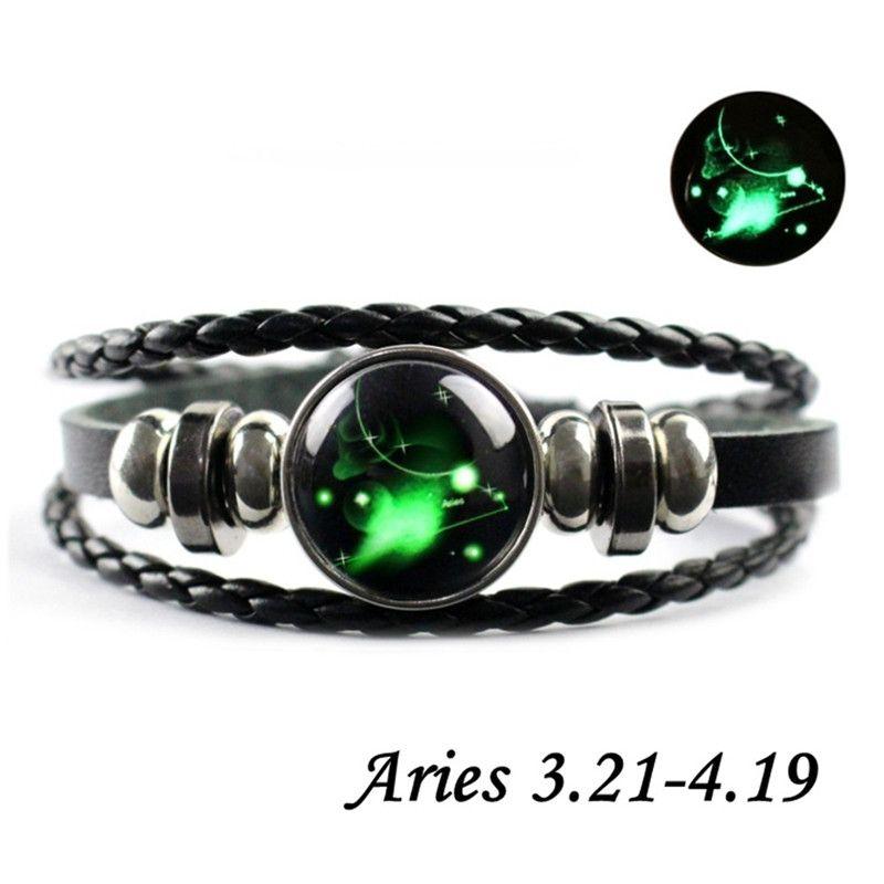 Tissés à la main en Cuir Verre Boucle Rétro douze constellation Bracelets Bangle Neuf