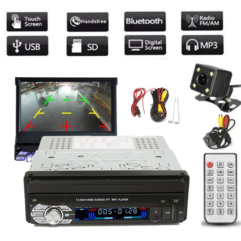 Freeshipping Universal 1DIN 7 pulgadas de pantalla táctil de alta definición para coche Reproductor estéreo MP3 / MP5 FM Bluetooth con cámara de visión trasera y cable