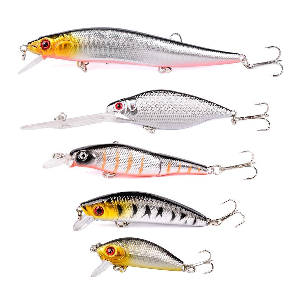 5pcs Glow Lure set Wobblers Artificial Bait Carp Fishing Lure Sea Spoon Jig Lures Colorful Hard Fishing Lure Bass Bait Fish Hook Kit