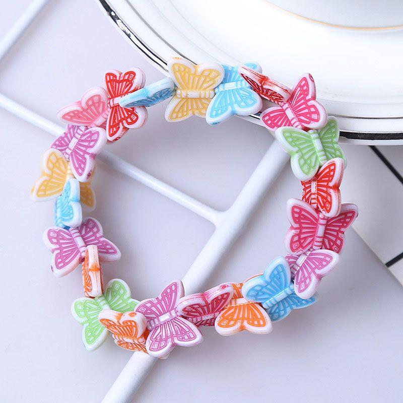 Venta caliente Nuevo Hecho A Mano Colorido Dulce mariposa Kids Girl Charm Pulseras Joyería Niños Regalo de la Fiesta de Cumpleaños