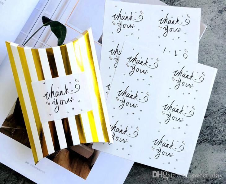 cadeaux simples en noir et blanc emballage autocollant remerciement cadeau sceau Paster parti emballage favorise l'offre