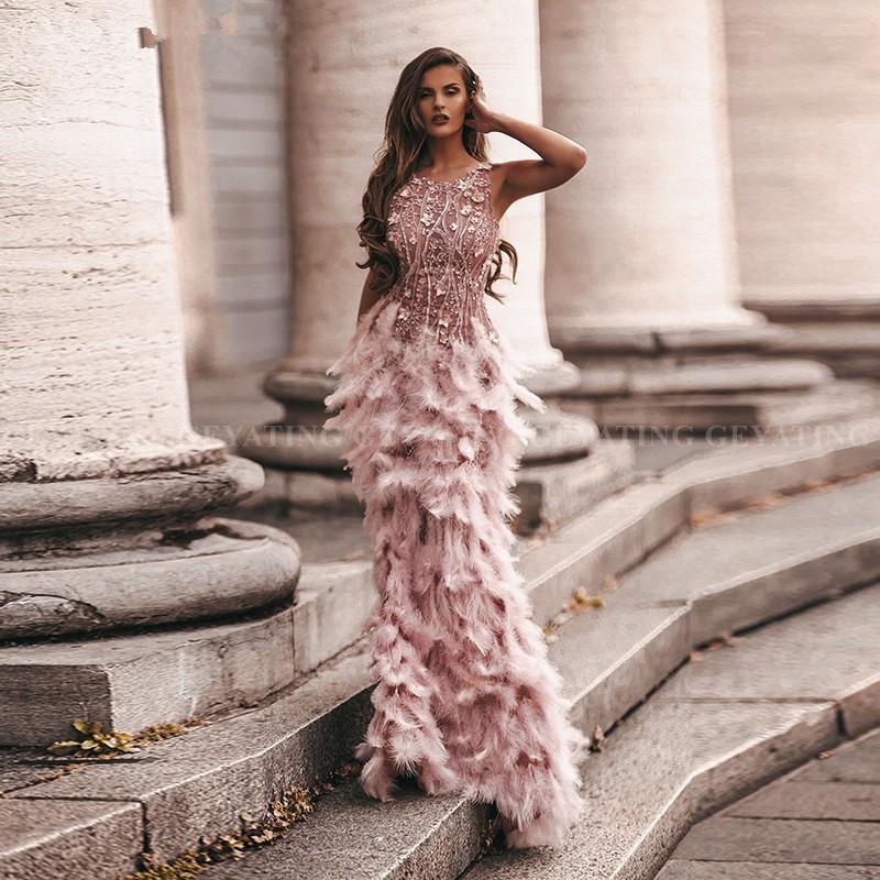 Erröten rosa 3D Blumen Mermaid Federn Promkleider 2k20 Lange afrikanische Abendkleider Semi Formal Gala-Kleid-Abschluss-Party-Kleid