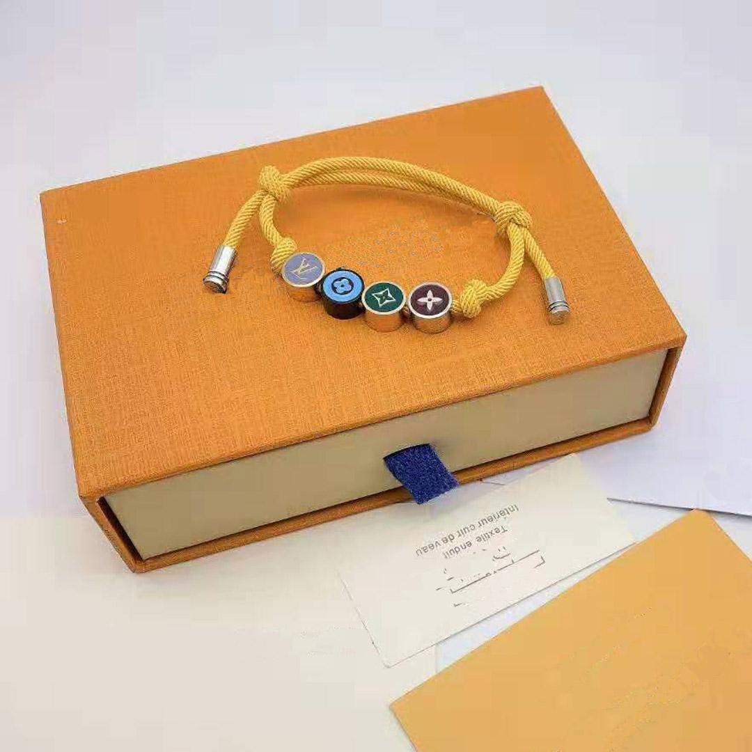 Moda-Designer cuerda pulseras de moda multicolor con pulseras de flores para la joyería del regalo de mujeres y hombres brazalete