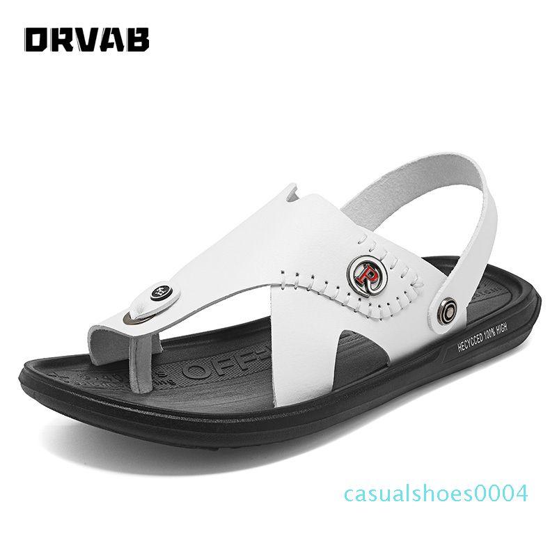 Sandalias de los zapatos de los hombres del slip-on del cuero genuino sandalias de playa masculino cómodo de zapatos para hombre de Gladiador deslizadores del verano NUEVO c04