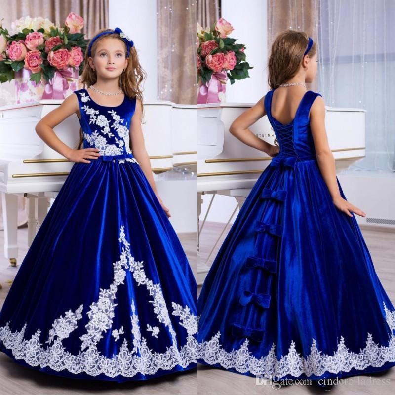 2020 Madre Figlia Classic abiti di pizzo Appliques Royal Blue Dress evento formale Lace Up Back Bella Flower Girl Abiti