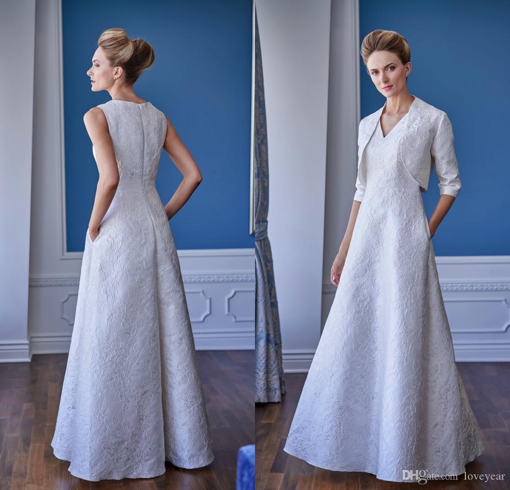Dentelle élégante mère de la mariée Robes de Mariée avec veste col en V manches longues robe de bal du soir Mère Robes Invité de mariage Wear