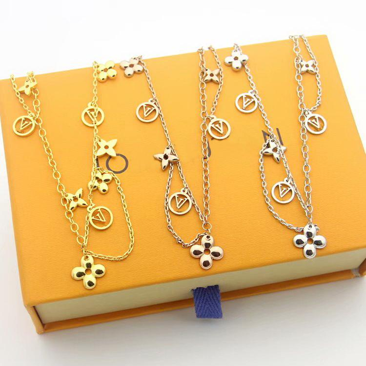 Hot Sale Fashion Jewelry Sets Lady 316L Titanium steel Four Leaf Flower V Letter 18K Plated Gold Double Deck Necklaces Bracelet Earrings 1pc