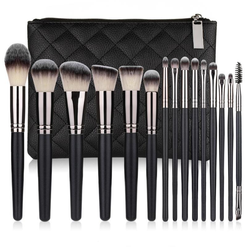 Premium 15pcs/set Black Wooden Makeup Brushes Kit 15 Pieces Makeup Brush Set Contour Foundation Powder Blush Brush Cosmetic Make Up Brushes