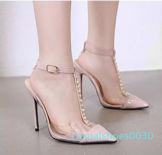 Шикарные красные нижние высокие каблуки Заклепки ПВХ прозрачный T ремень обуви класса люкс женщины дизайнер насосов размер от 35 до 40 30c