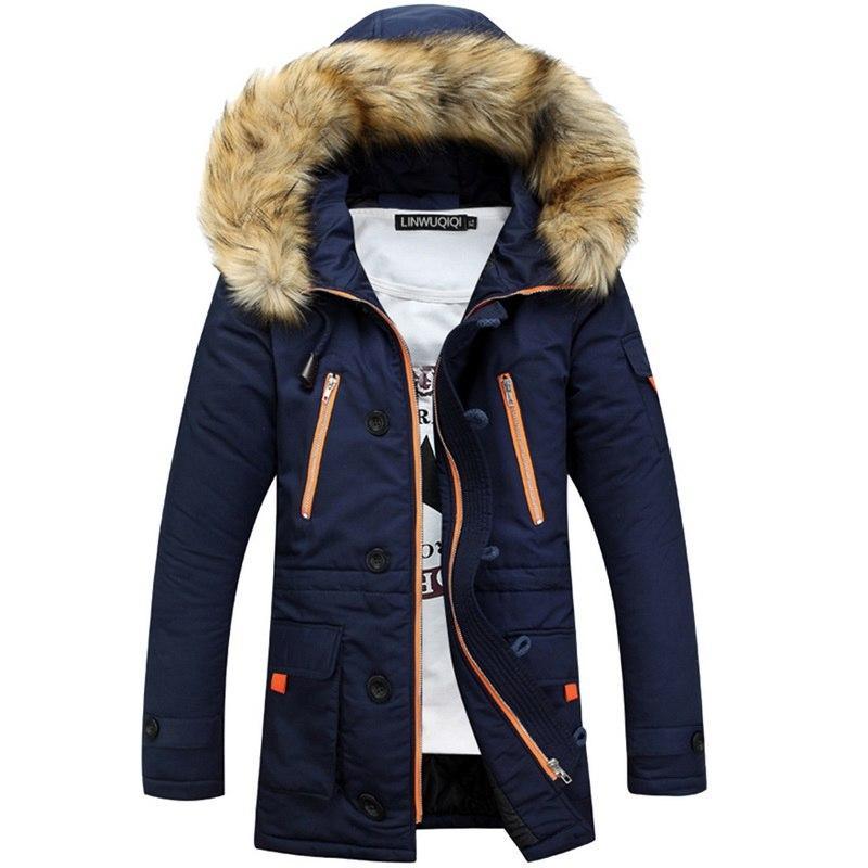 Winterjacke Men Casual Warm Zipper Parka-Jacken-Mann-Mode abnehmbare Pelzkragen starke mit Kapuze Mäntel Veste Homme Plus Size