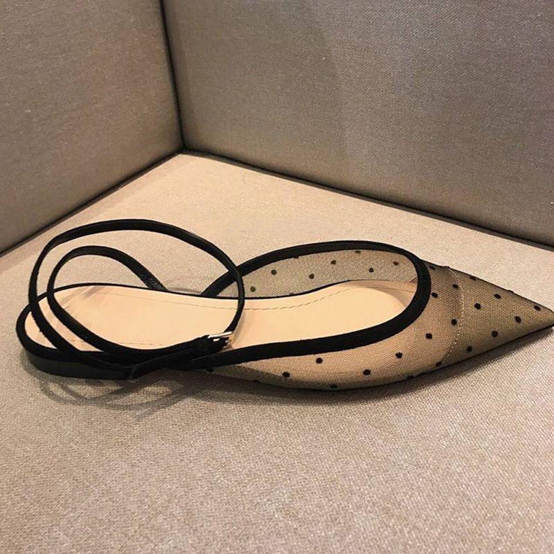 Sommer Sexy Schwarz Atmungsaktiv Wohnungen Gepunktete Ballett Frauen Spitz Mesh Gladiator Sandalen Frauen Knöchelriemen Party Schuhe Frauen