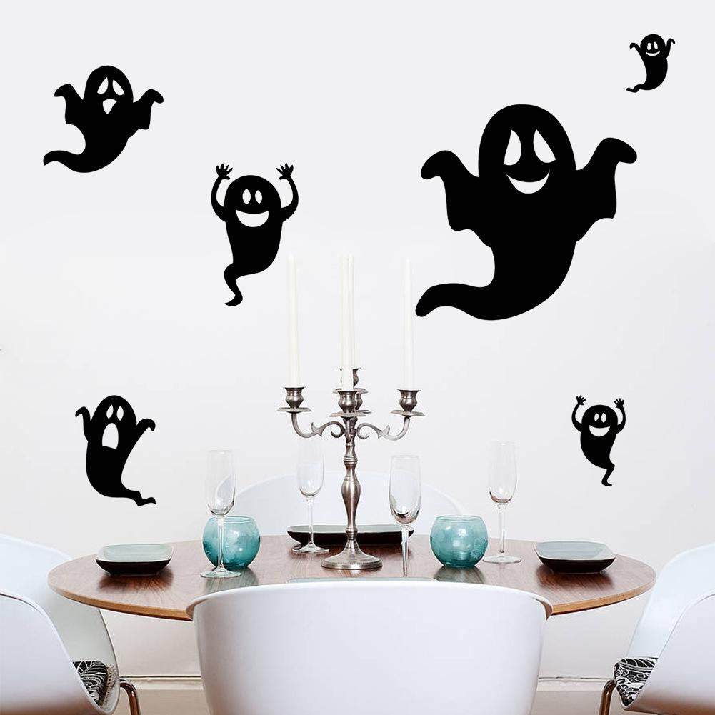 Halloween Wall Stickers Home Wall Decor Black Ghost Kids Room Bedroom Decoration DIY Specter Posters Mural Wallpaper Wall Decals Stars Wall Stickers