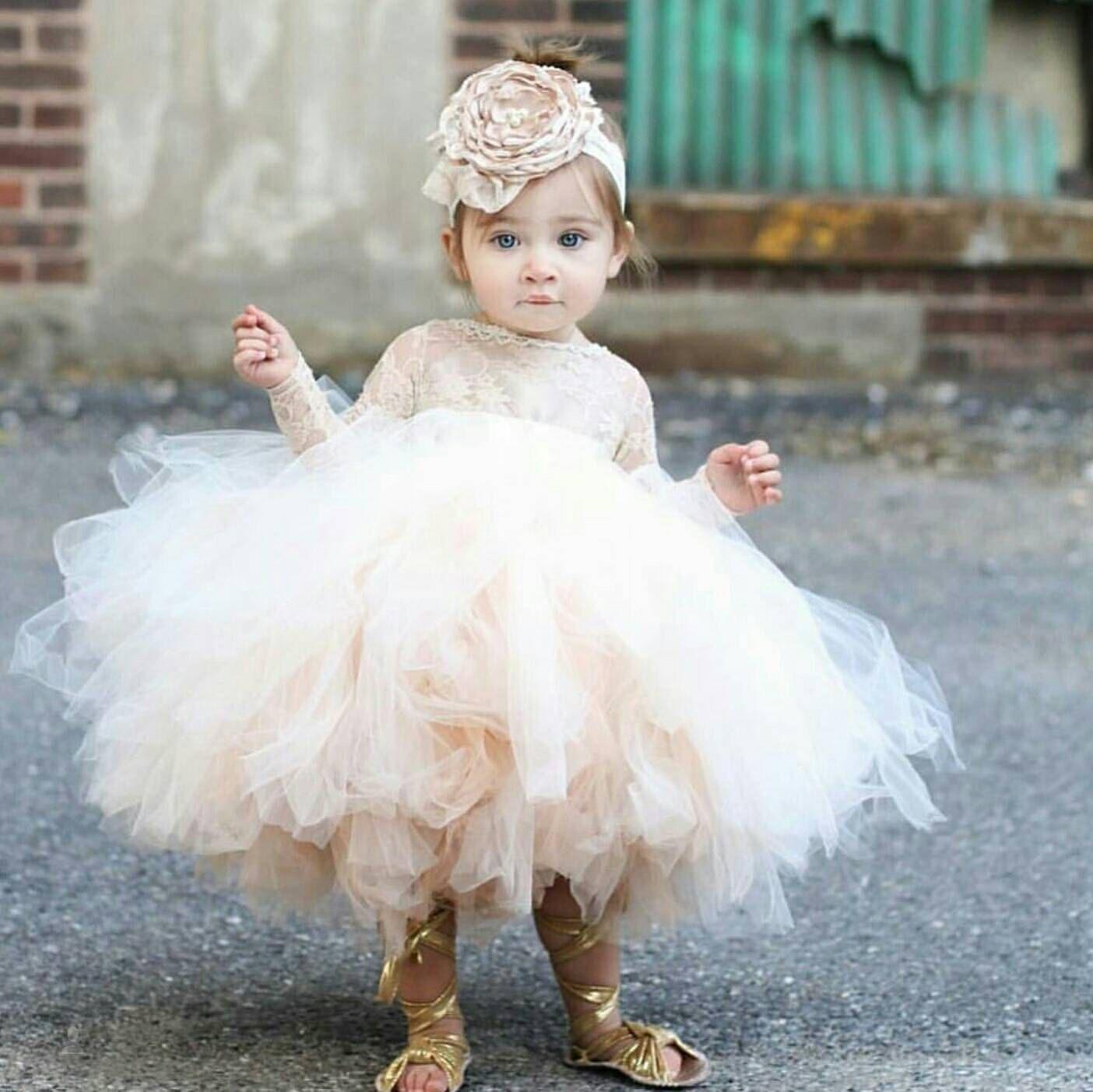 2019 vintage blomma tjejer klänningar elfenben baby spädbarn toddler dop kläder med långa ärmar spets tutu boll kappor födelsedagsfest klänning