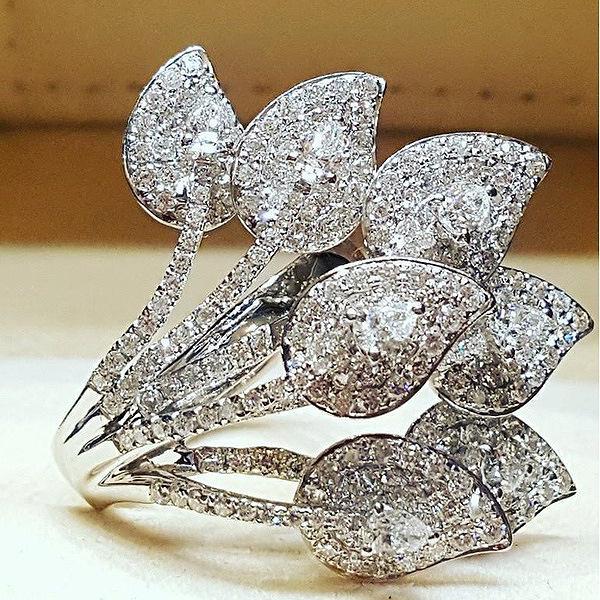 Feuilles Creative diamant bague de princesse Bagues de fiançailles pour les femmes bijoux de mariage Anneaux accessoires de mariage Taille 6-10 Livraison gratuite