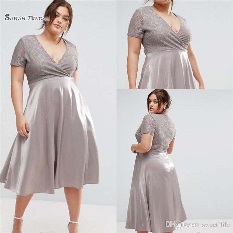 2019 Elegant A Line Plus Size Wedding Guest Dress Lace Mother Of The Bride  Dresses Short Sleeves V Neck Tea Length Formal Gowns From Sweet Life, ...