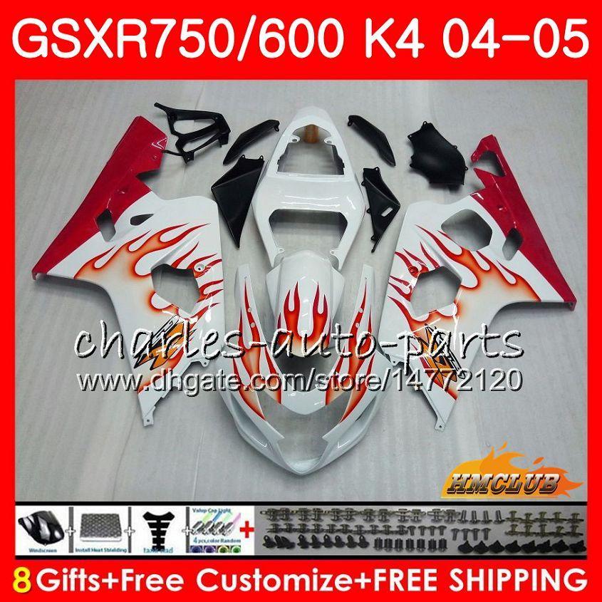 Kit para SUZUKI GSX R600 R750 GSXR600 llamas rojas CALIENTE GSX-R750 GSXR 600 750 04 05 7HC.90 GSXR-750 GSXR750 K4 GSXR-600 04 05 2004 2005 Carenado