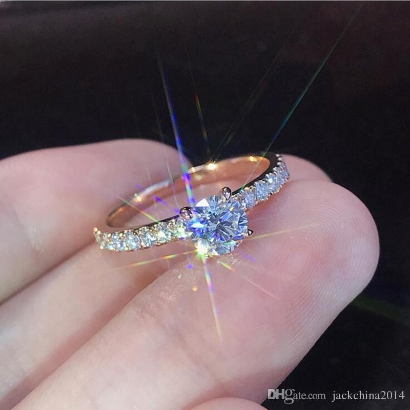 Choucong Deluxe Jewelry Handmade Einfache Mode 925 Sterling SilverRose Gold 5A Zirkonia Versprechen Frauen Hochzeit Verlobungsring Ring