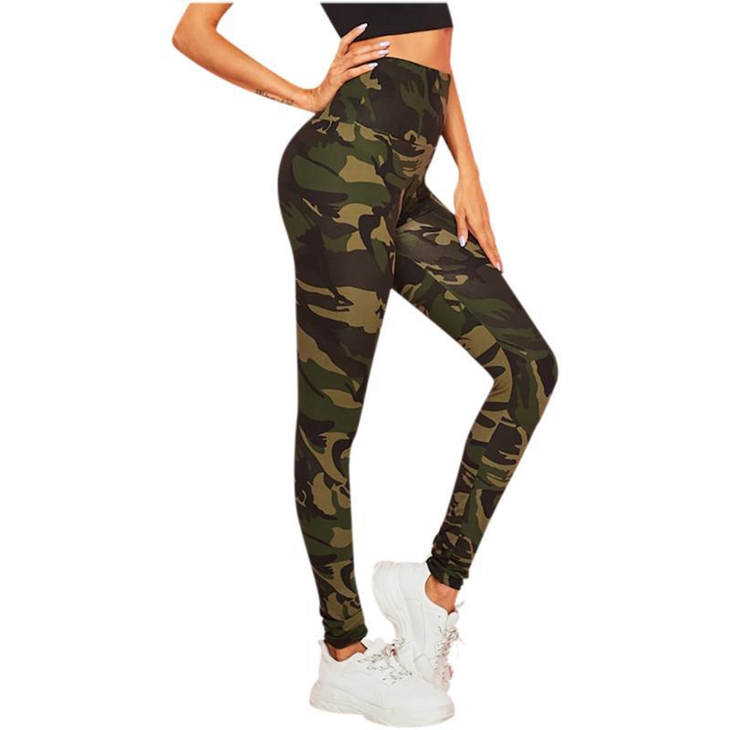 Camouflage Printing Yoga Pants Womens Slim Workout Sports Leggings Fitness Clothing Gym Trousers Training Running Tights