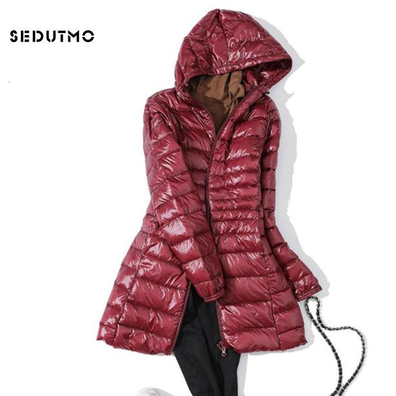 SEDUTMO Inverno Ultra longo leve Womens jaquetas Plus Size 7XL Duck Down Brasão do soprador Jacket slim com capuz Parkas ED621 SH190930