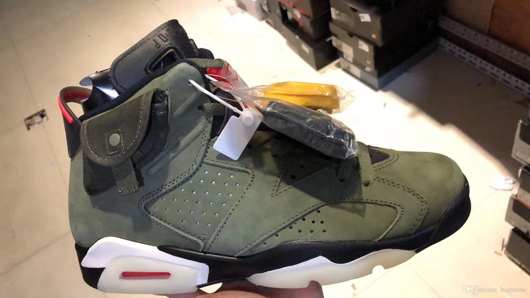 Высокое качество Трэвис Скоттс x 6 баскетбольная обувь кактус Джек 6s Трэвис низкая армия зеленый Тинкер scarpe des Chaussures zapatos скидка