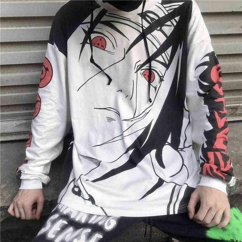 NiceMix animado de Naruto Uchiha Itachi Sharingan print con capucha delgada otoño streetwear jerséis de manga larga con capucha básica sueltos mujeres me V200328