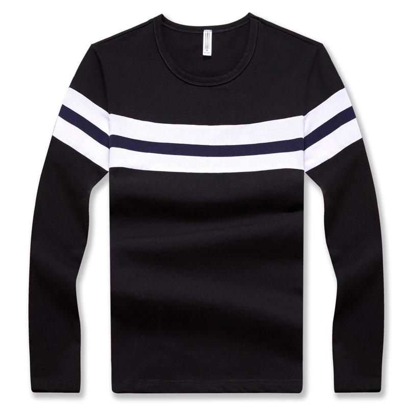Fashion Men's Long-sleeved T-shirts Trim Casual Tops Autumn Streetwear O-neck Regular Striped Cotton Black Blue Grey Tshirt