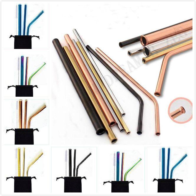 8.5 polegadas à prova de riscos Straw metal palhas reutilizável Palhinha anti zero Straw Para Casa Partido Use Bar Acessórios Barware