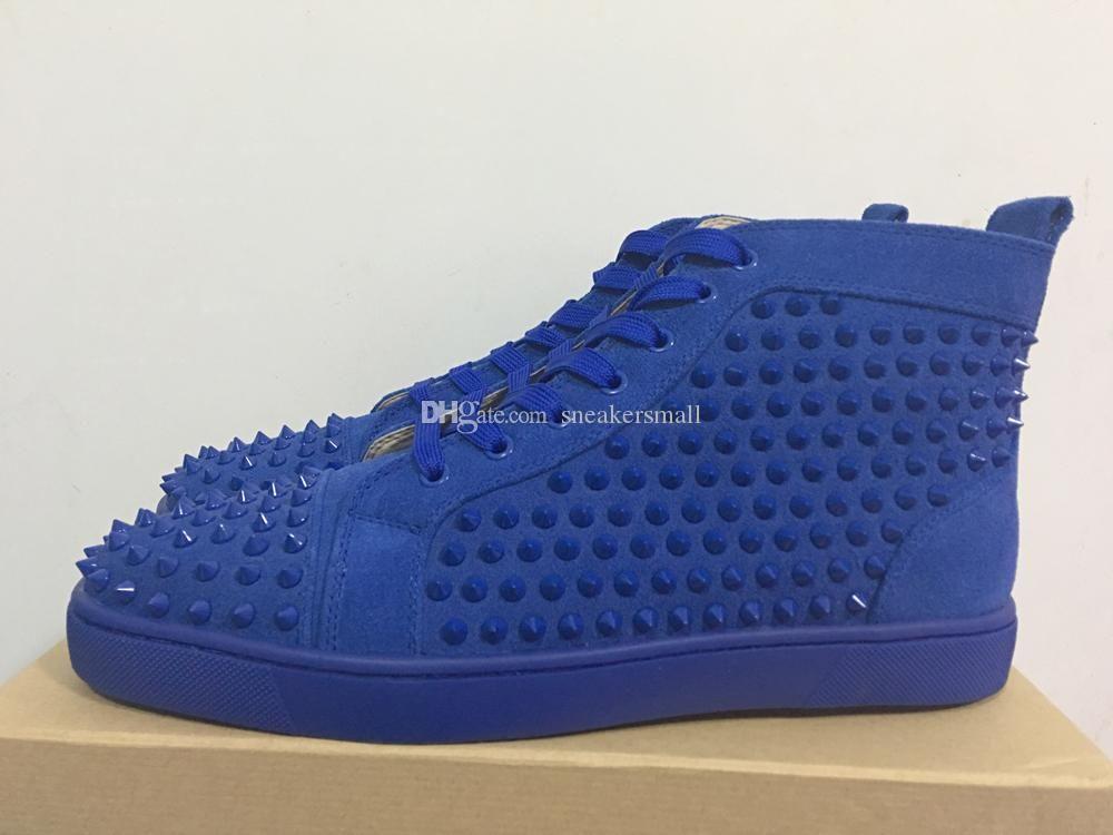 Blue Red Bottom Shoes For Men Spike