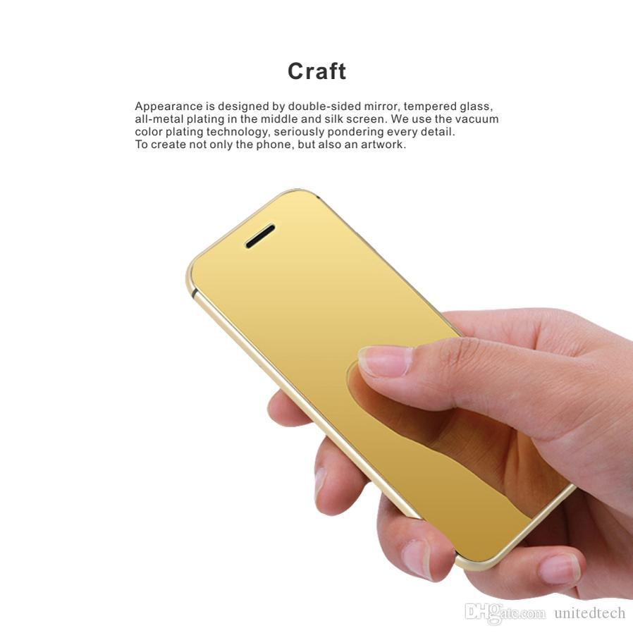 الأزياء الذهبية الفاخرة جسم معدني الهاتف الخليوي الهاتف السوبر ميني بطاقة سامسونج مع زر اللمس MP3 بلوتوث 2.0 المسجل الهواتف المحمولة المحمول
